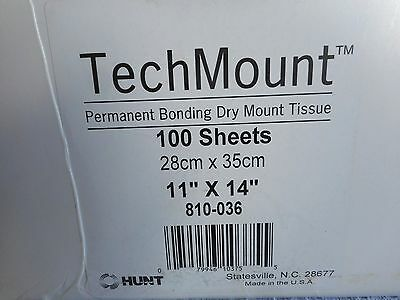"""Hunt Techmount Dry Mount Tissue 11 x 14"""" For Paper, Photos or Posters Approx 50+"""