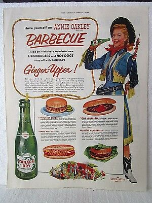 Vintage Annie Oakley Barbecue Canada Dry Ginger Ale & Spalding Golf Ad Print