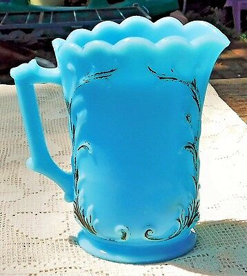 ANTIQUE EARLY 20th CENTURY WESTMORELAND BLUE MILK GLASS HAND PAINTED CREAMER