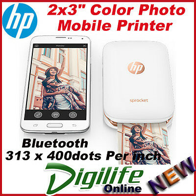 HP Sprocket 100 Photo Printer for Smartphone Recharge Battery Z3Z91A White