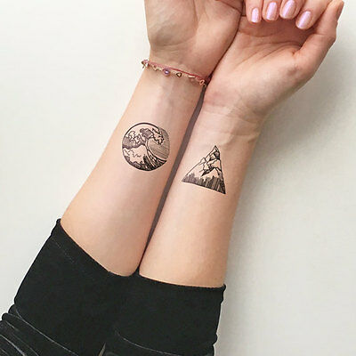 Waterproof Temporary Fake Tattoo Stickers Cool Ocean Wave Mountain