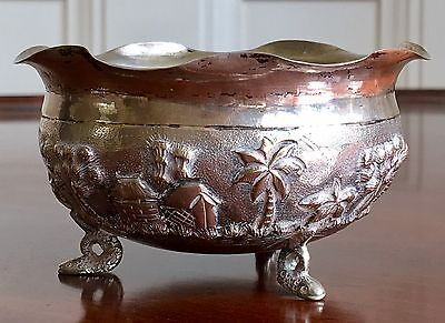 Indian Silver Bowl, With Buildings And Snake Feet. c.1900-1930. 8.5cm Dia.