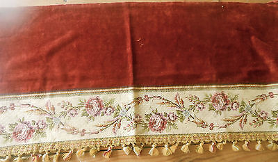 Antique French Rust Velvet Fabric Pelmet Pc. Roses Tapestry Passementerie Trim
