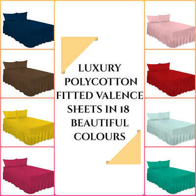 Plain Dyed Fitted Valance Sheets PolyCotton - BEST QUALITY Single Double King