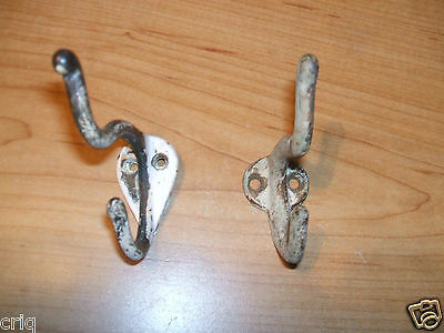 2 Early Vintage Brass Coat/Hat Hooks Used