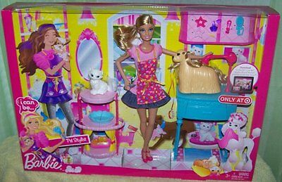 Barbie I Can Be Pet Stylish Grooming Playset + Doll Accessories Dog Cat Bnib Uk