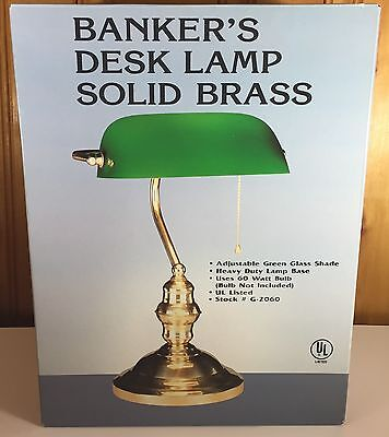 Vintage Style Solid Brass Banker's Desk Lamp Green Shade NEW in Box