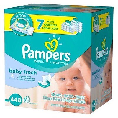 Pampers Baby Fresh Baby Wipes 7x Pop-top Pack - 448 Count...New, Free Shipping