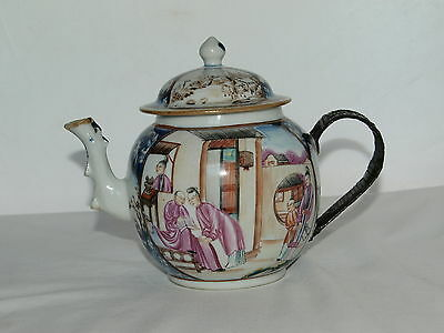 C18th CHINESE CANTONESE FAMILLE ROSE TEAPOT WITH REPLACEMENT METAL HANDLE