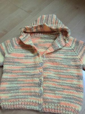 ~~NEW~~ CHILD'S HAND MADE KNITTED VARIEGATED HOODIE SWEATER APPROX SIZE  12 mos