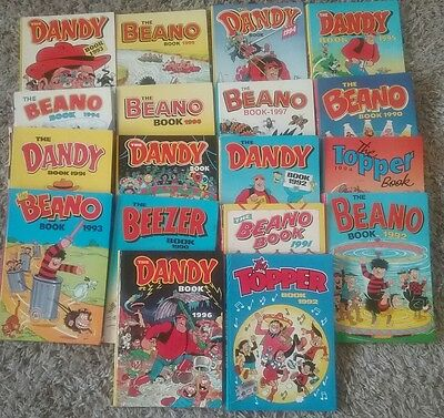 Joblot of 18 Children's Annuals Beano Dandy Topper Beezer