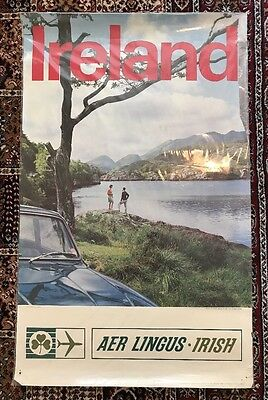 "Original Vintage Aer Lingus Irish Airlines Killarney, Travel Poster, 25"" x 40"""