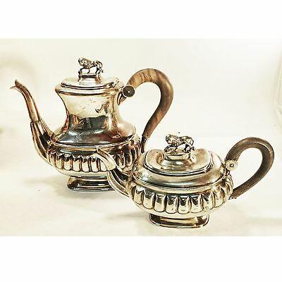 Georgian Lion of Judah Hallmarked Silver Lion Finial Teapot and Coffee Pot