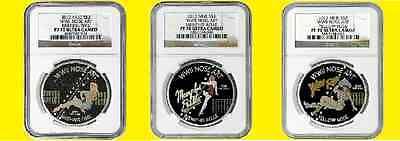 2012 Niue 3 Coins Set Nose Art Y.rose,briefing.t,mmphis 3 Oz Silver Ngc Pf 70 Uc