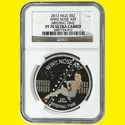 2012 Niue Nose Art Wwii Briefing Time 1 Oz Silver Ngc Pf 70 Ultra Cam,not Disney