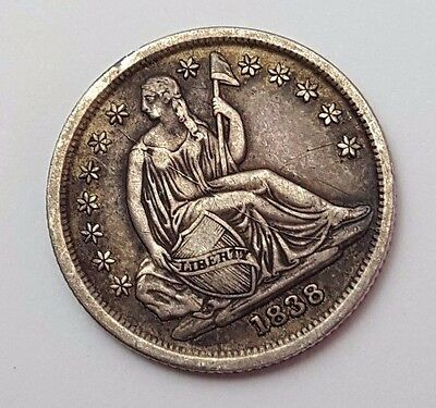 Dated : 1838 - USA - Seated Liberty - One Dime - 10c - Silver Coin - Very Rare