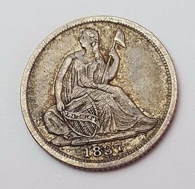 Dated : 1837 - USA - Seated Liberty - Half Dime - 5c - Silver Coin - Very Rare