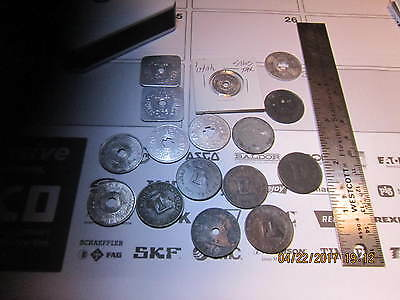 Mixed Sales Tax Tokens 16 Pieces