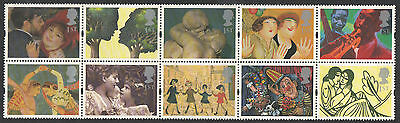 SG1858-1867 1995 GREETINGS IN ART, BLOCK of 10 WITH LABELS ~ UNMOUNTED MINT GB