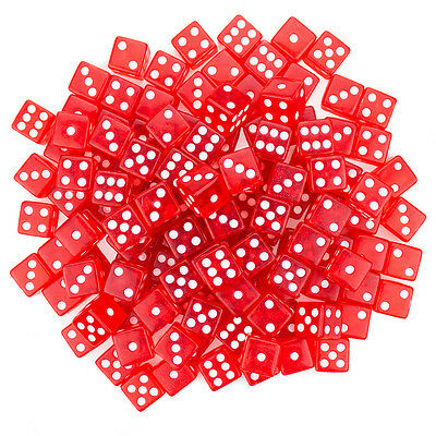 Set of 100 Red Translucent 16mm 6-Sided d6 Dice for Casino Table Board Games