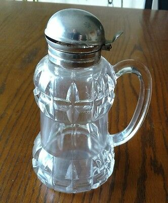 Antique Late 1800's Syrup Pitcher with Metal Flip Top
