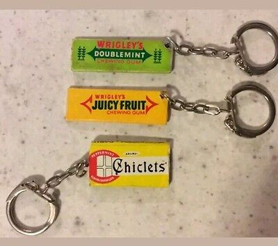 lot of 3 vintage chewing gum pack key chains