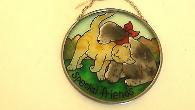 Joan Baker Special Friends Stained Glass Sun Catcher Dog and Cat CL4-40