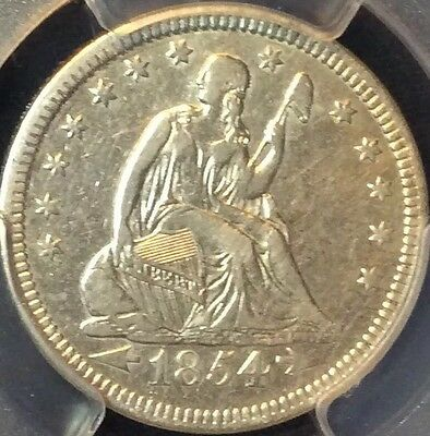 1854 Arrows Seated Liberty Quarter Dollar Certified PCGS XF