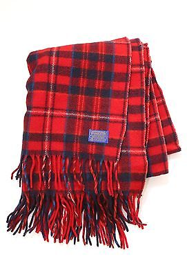 VTG 60s Pendleton deadstock Red plaid wool fringe camp blanket throw + bag 50x63