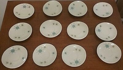 "Franciscan Atomic Starburst Saucer 6"" Rare Set of 12 Mid Century Dishes"