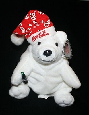"Coca Cola Christmas ""Polar Bear in Snowflake Hat"" Bean Bag Plush Stuffed Animal"