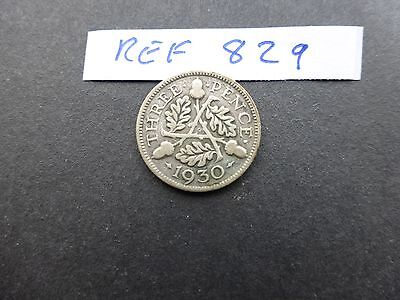 George v Silver Threepence coin 1930  key date fair grade        Ref 829