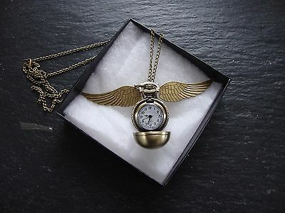 Harry Potter Golden Bronze Snitch Watch Wings Necklace Quidditch Pendant