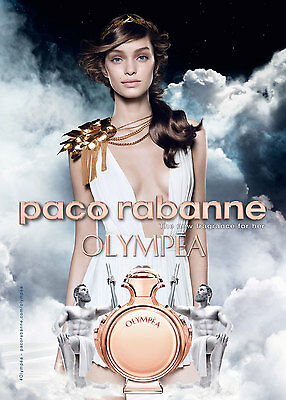 Paco Rabanne OLYMPEA ad PERFUME COLOGNE SAMPLE AD 2-Page magazine advertisement