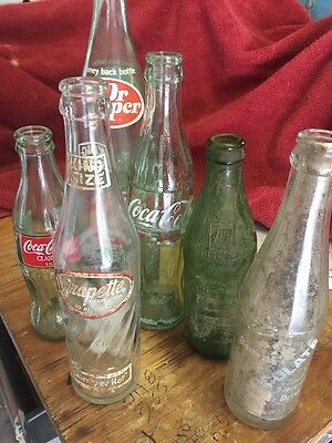 Vintage Pop Soda Coca Cola Pepsi Bottles A & W Canada Dry Lot of 6