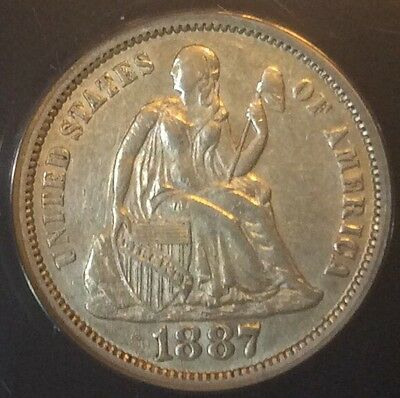 1887 10C Seated Liberty Dime Certified ANACS AU50