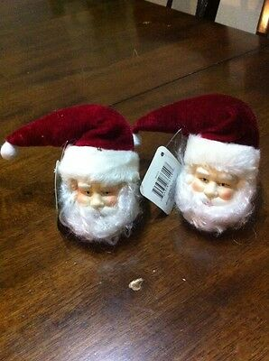 Porcelain Santa Heads With Red Hat