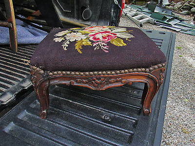 1800S Fancy All Original Neddle Point Carved Foot Stool