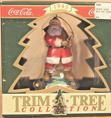 Coca Cola • Trim A Tree Ornament 1995 • Travel Refreshed • Santa on Top of World
