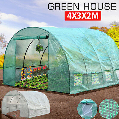 4X3X2M Walk In Greenhouse Green House Plant Shed PE Cover Arch Roof Tunnel