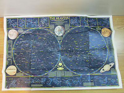 The Heavens Star Charts National Geographic 1970 Map / Poster
