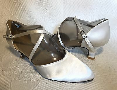 White Satin Dyeable Ballroom Salsa Latin Tango Closed Toe Dance Shoes Size 10
