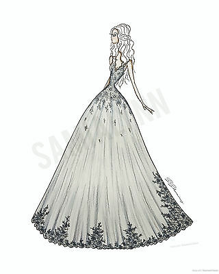 Fashion Illustration Print- Lace Gown