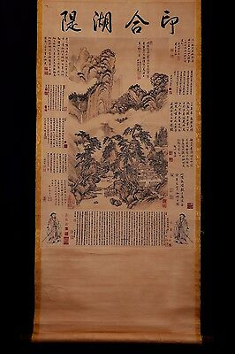 Very Long Old Chinese Scroll Hand Painting Landscapes Seal Marks PP530