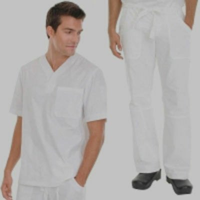 COTTON RICH UNISEX Medical Scrub Suit Doctors/Nurses OFF WHITE Top & Trs