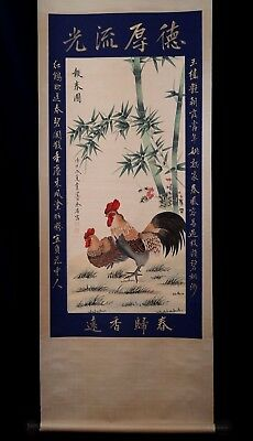 Awesome Large Rare Chinese Scroll Hand Painting Chickens Marks YuSheng KK144