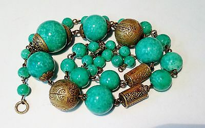 VTG Early 20th Century Peking Glass Deco Brass Ball Necklace 1930's