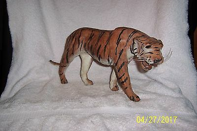 Vintage LEATHER-WRAPPED Bengal Tiger Figure with Glass Eyes