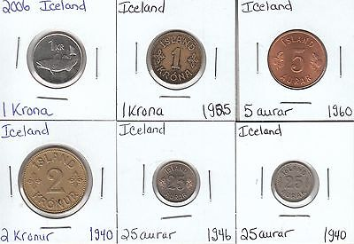 Iceland: Collection of 6 Different Circulation Coins