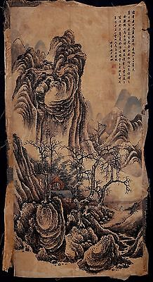 Exquisite Long Old Paper Chinese Hand Painting Landscape GaoJian Marks KK254